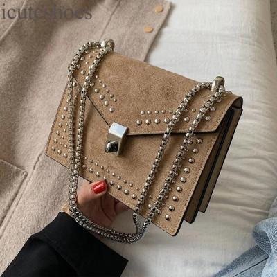 Scrub Leather Small Shoulder Messenger Bags for Women Chain Rivet Lock Crossbody Bag Female Travel Mini Bags