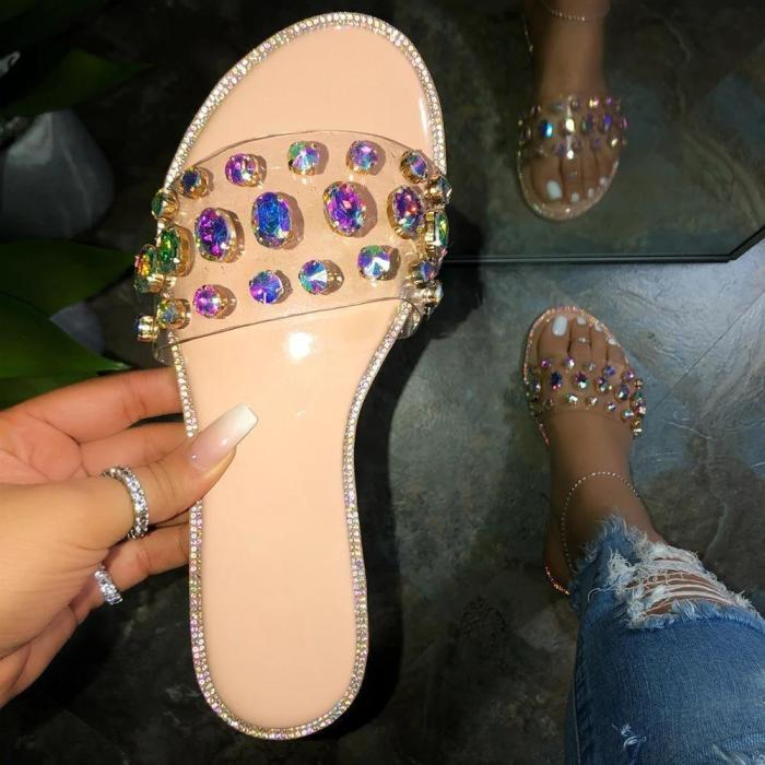 Slip-On Flip Flop Rhinestone Flat With Summer Casual Slippers