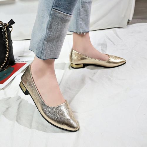 Low Square Heels Women Shallow Pumps Slip on Pointed Toe Solid Ladies Casual Fashion Shoes Female