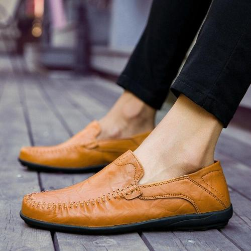 Men Shoes Casual Luxury Mens Loafers Genuine Leather Soft Comfy Breathable Slip on Driving Shoes