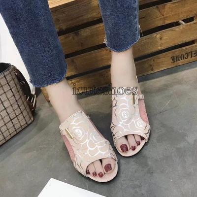 Summer Women Slippers High Heels Mules Slides Lady Flower Peep Toe