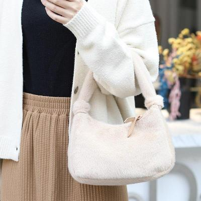 Furry Solid Color Mini Bag Casual Women's Fashion Handbag All-match Western Style Plush Handbags for Women