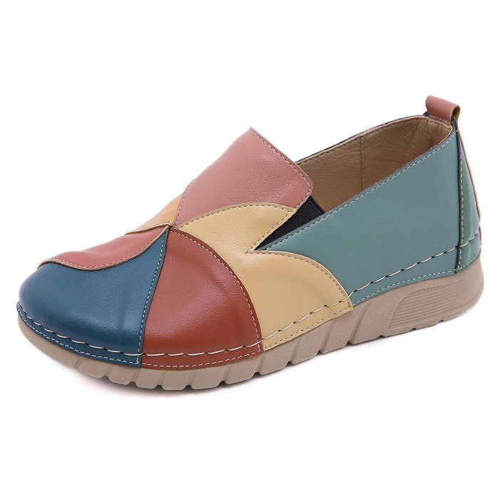 Women Pumps Chunky Mid Heels Plus Size Ladies Loafers Luxury PU Leather Wedges Shoes Woman Female
