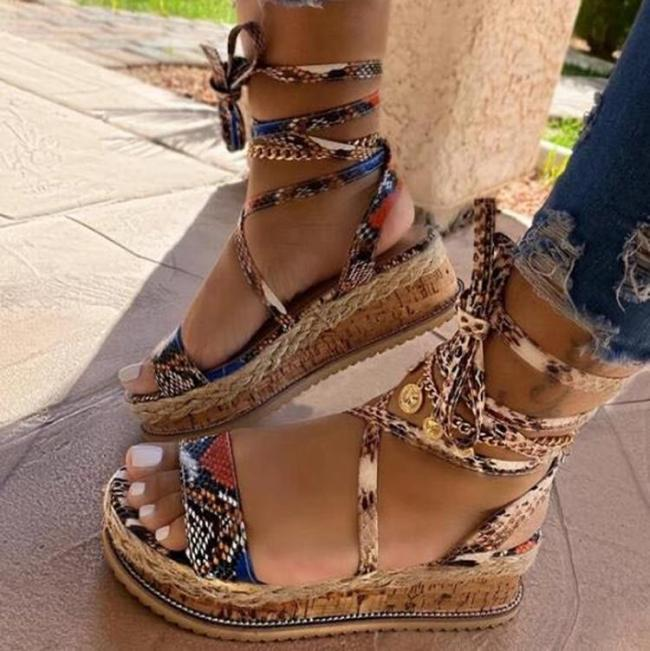 Women Sandals Mid Heel Summer Bandage  Women's Shoes Open Toe Boho Color Snake Pattern