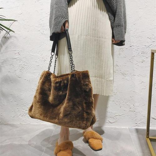 Autumn and Winter Plush WOMEN'S Bag Handbag Fashion Furry Large Bag LADY'S Shoulder Bag