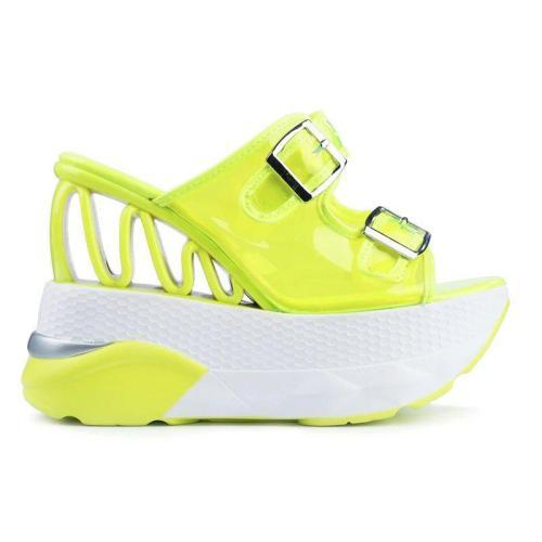 Slip-On Platform Wedge Heel Flip Flop Patchwork Casual Slippers