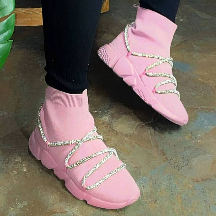 Women Flats Shoes Woman Plus Size Flat High-top Breathable Mesh Shoe Shiny Crystal Chaussures Femme