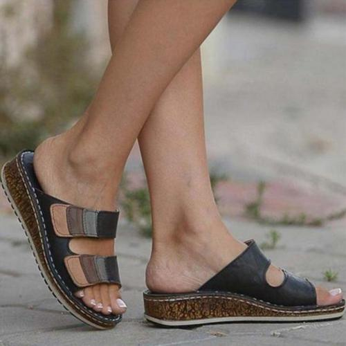 Sandals for Women Shoes Women's Retro Wedge Low Heels Ladies Sandals