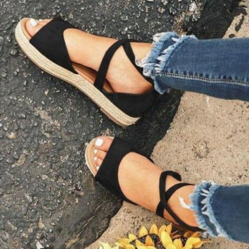 Women Sandals Gladiator Peep Toe Buckle Design Roman Women Flat Shoes Summer Beach Ladies Shoes