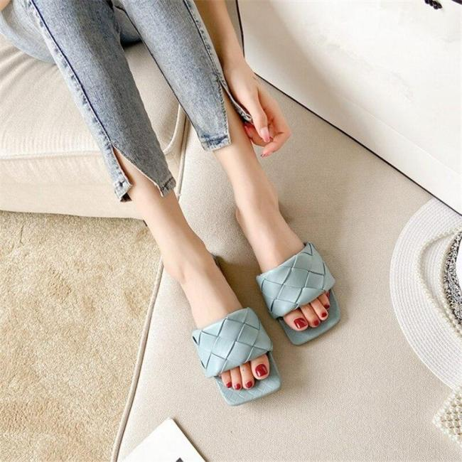 Slippers PU Leather Women Sandal Open Toe Flat Casual Slides Summer Outdoor Beach