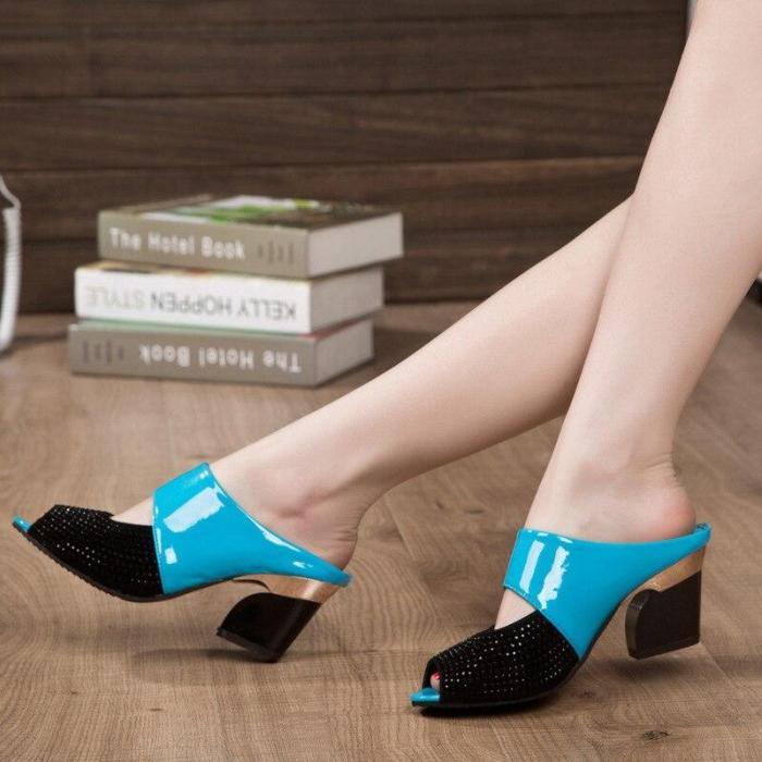 Sandals Peep Toe Sandal Patchwork Crystal Dress Shoes Womens High Heels Sandals Square Heeled Pumps