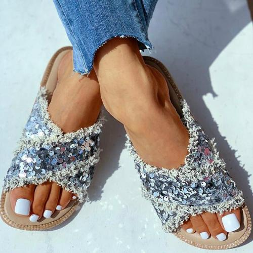 Women Slippers Bling Shine Platform Sequins Flat Peep Toe Slides Outdoor&Indoor