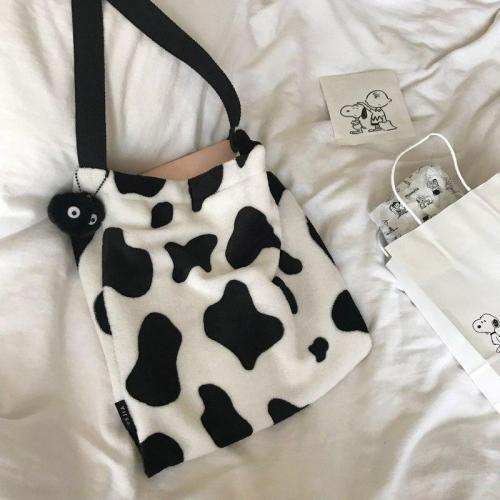 Dot Cow Pattern Women Handbags Designer Shoulder Luxury Plush Messenger Bag Ins Large Capacity Totes Lady Buckets Bag Big Purse