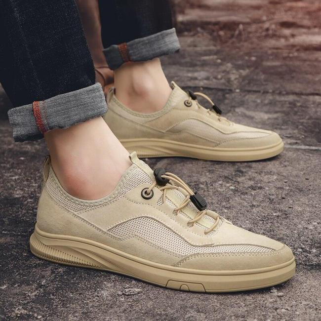 Man Casual Shoes Summer Men's Sneakers Leather Mesh Walking Footwear Fashion Male Shoe Breathable Soft