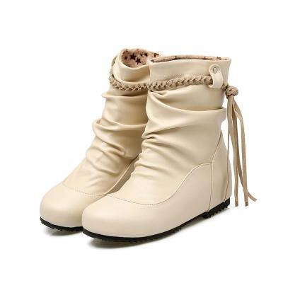 Laides Shoes Women Boots Autumn Winter Hidden Height Flat Shoes Woman Plus Size