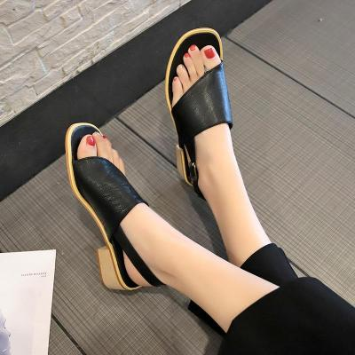 Summer New Roman Women's Shoes Large Size Open Toed with Chunky Heeled Women's Sandals Buckled Sandals