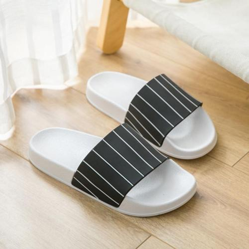 Summer Slippers Shoes Simple Streak Open Toe Low Platform Flip Flops Women Soft Flat Beach Sandals