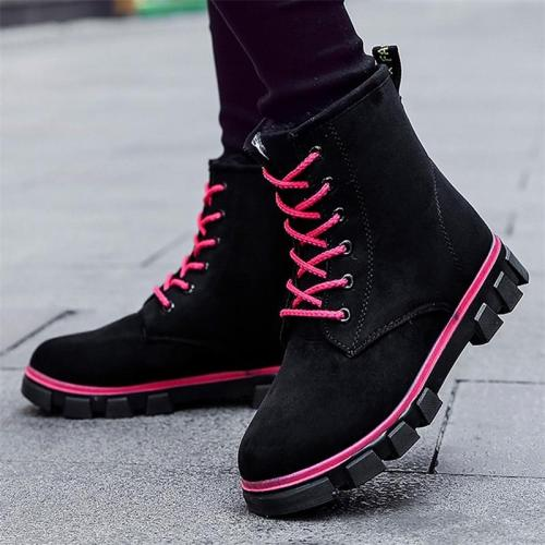 Boots Women Short Plush Flat Warm Lace-up Round Head Non-slip Solid Color Shoes for Female Waterproof