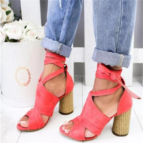 Summer Women Sandals Flock Thick High Heel Platform Peep Toe Ankle Strap Fashion Wedding