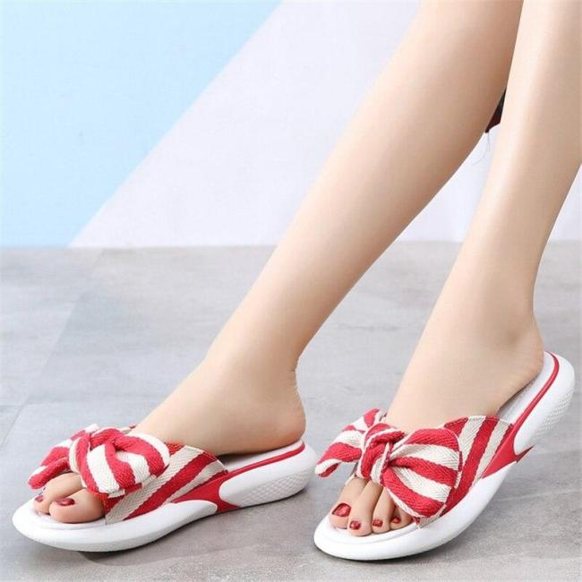 Elastic Slippers Women's Casual Flat Beach Shoes Striped Light Sandals Women's Comfort Cloth Slippers