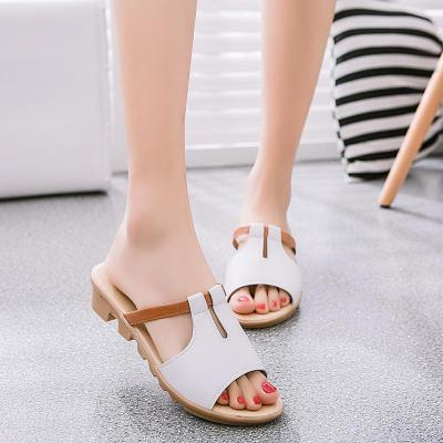 New Summer Slope Heel Color Matching Women's Slippers Open Toe Non-slip Casual Slippers Sandals