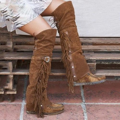 Fashion Bohemian Boho Knee High Boots Women Tassel Fringe Faux Suede Leather Hight Booties Girl Flat Long Boots