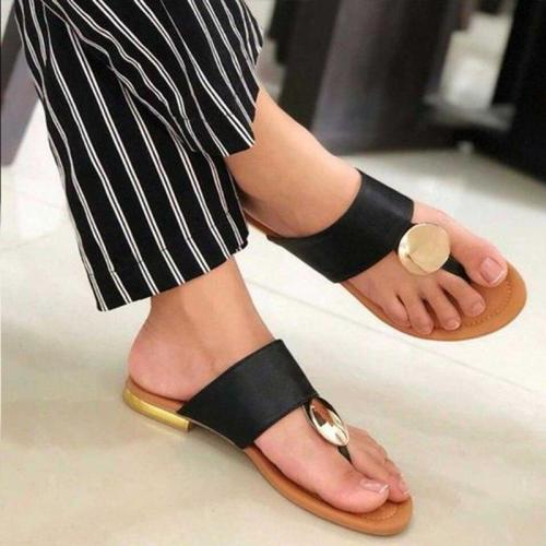 Women Slippers Summer Beach Shoes Solid Color Simple Flat Shoes Gladiator Open Toe Casual Outdoor Non-slip