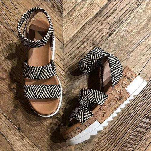 Party Shoes Women Platform Sandals Women Peep Toe High Wedges Heel Ankle Female Sandals Shoes