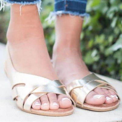 Women Summer Sandals Solid Casual Platform Flat Heels Peep Toe Back Strap Leisure