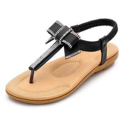 Summer Korean bow sandals Bohemia water drill sandals flat sole flat heel beach shoes women shoes