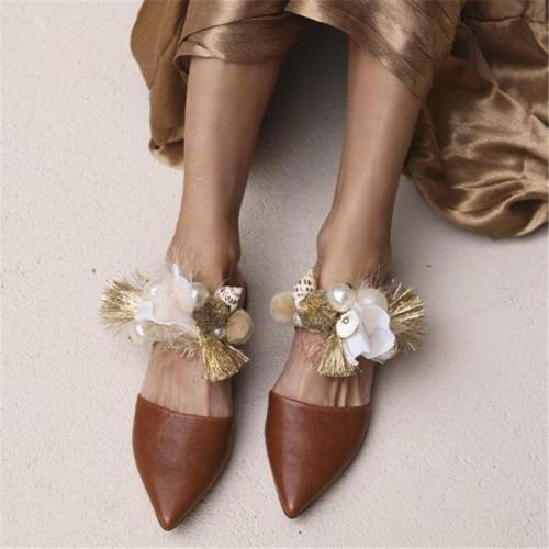 Shell Sandals Handmade Fringed Pointed Rhinestone Slippers