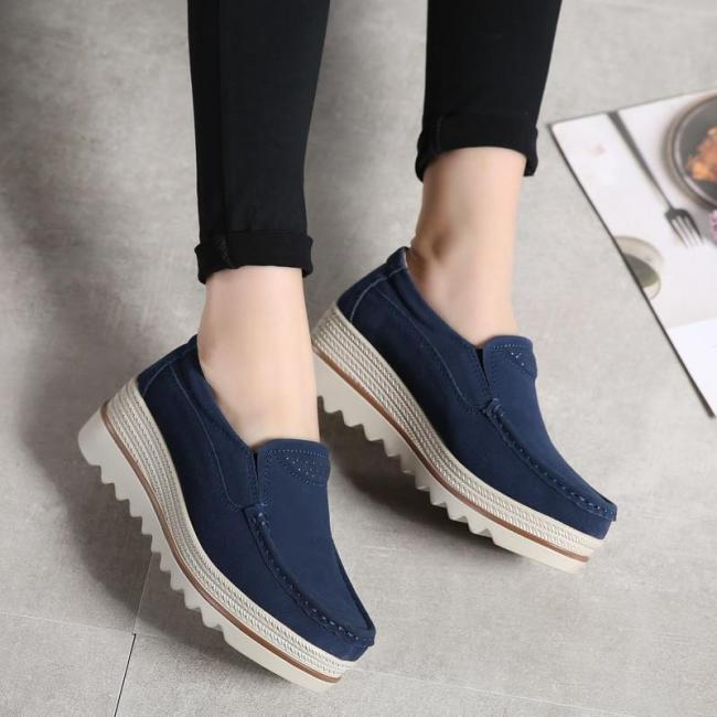Women Shoes Platform Slip on Flats Loafers Moccasins Hollow Out Casual Shoes
