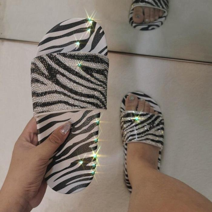 Women Print Slippers Flat Heels Open Toe Beach Slides Fashion Sandals Ladies Shoes