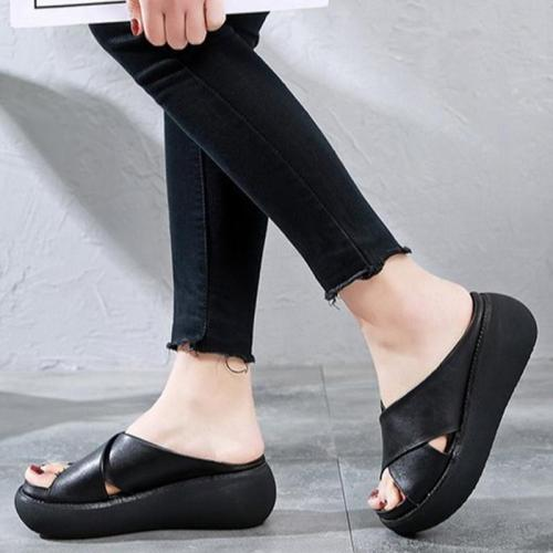 Women Slippers Woman Wedges Shoes Women's Female Slip On Ladies Soft Leather Beach Casual