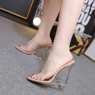Women Summer Platform High Heels Wedge Thick Heels Sandals Chunky Slides Female Slippers