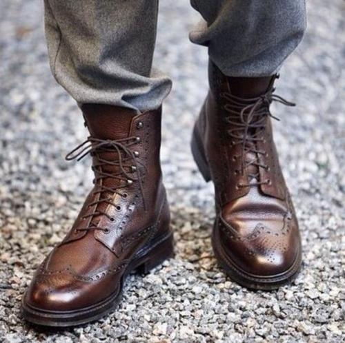 Fashion Men Shoes Top Quality Vintage PU Leather Plaid  Boots Lace Up Mens Boots Casual