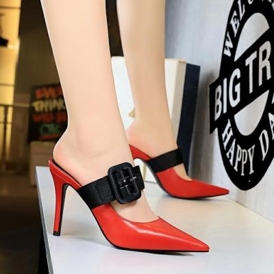 Shoes Women Pumps New Summer Stiletto High Heels Shoes Fashion Sandals Buckle Shoes Slippers