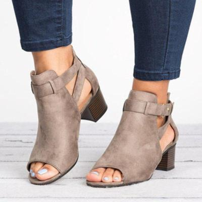Women's Large Size Chunky With Buckle Sandals