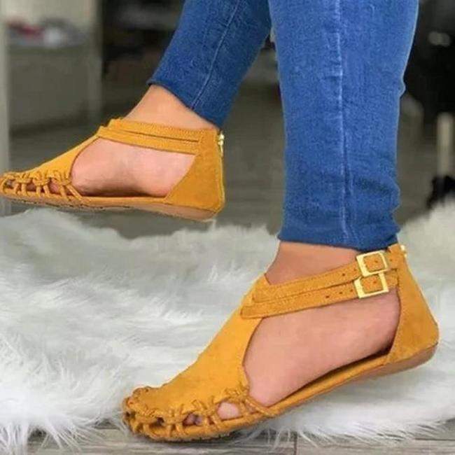 Women Summer Beach Flats Sandals Shoes Woman PU Leather Gladiator Plus Size Closed Toe Sandalias