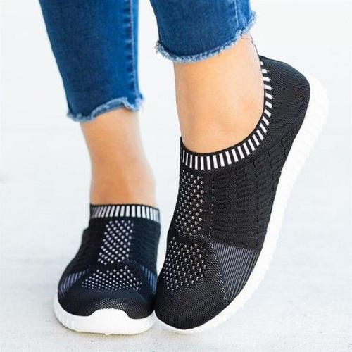 2020 Spring Women Sneakers Flat Heel Knit Fabric Round Toe Breathable Flats Plus size Female Casual Daily Loafers