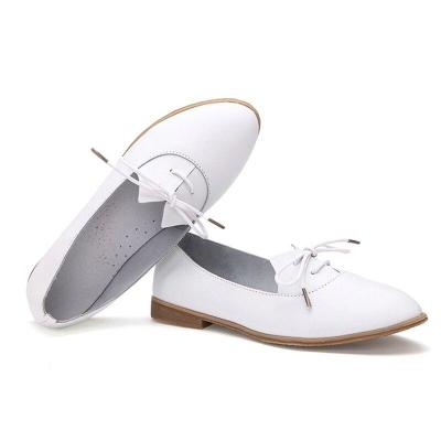 Spring Women Oxford Shoes Flats Shoes Women Genuine Leather Shoes Moccasins Lace Up Loafers White
