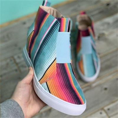 Women's Ankle Boots Fashion Plaid Canvas Female Shoes Casual Non-Slip Flat Boots Comfortable Ankle Boots