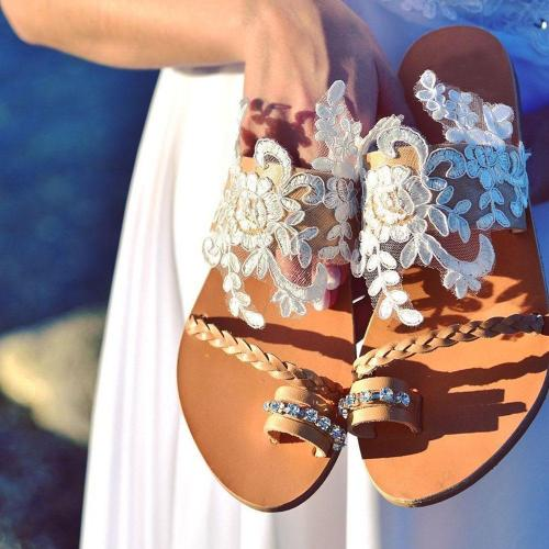 Flat With Slip-On Toe Ring Lace Casual Slippers