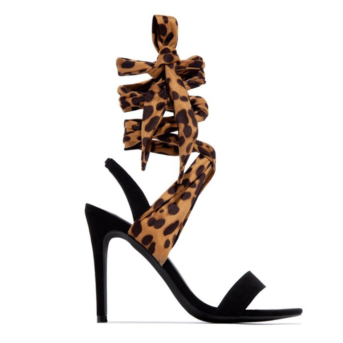 Women Summer Ankle Strap Sandals Thin High Heel Cross Tie Leopard Fashion Sexy Wedding Party Ladies Shoes