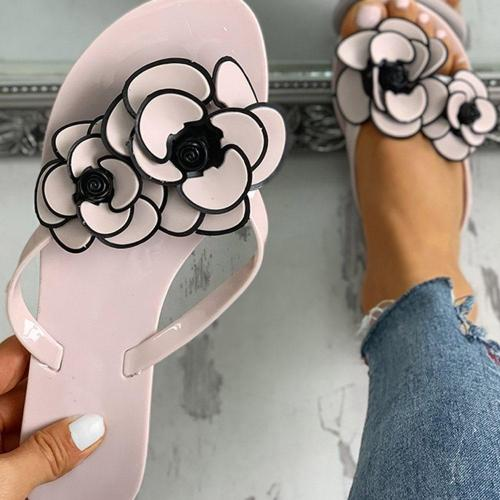 Flat With Appliques Thong Slip-On Casual Casual Slippers