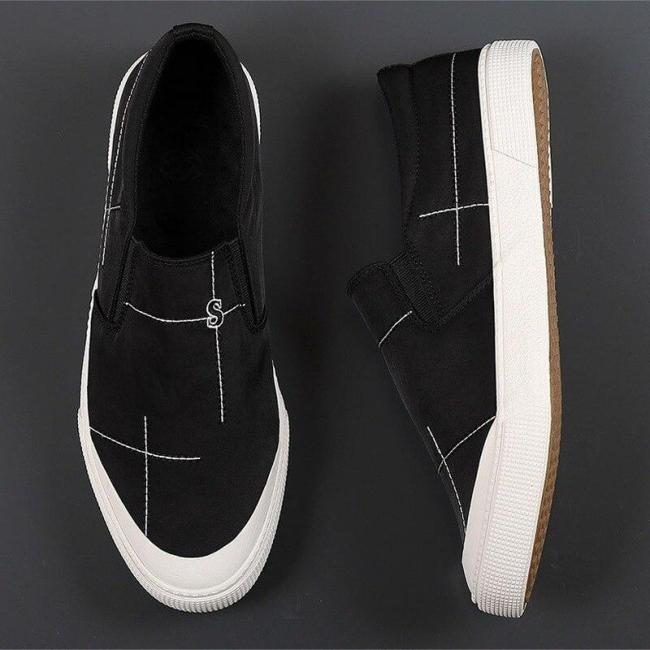 2020 Spring  Autumn New Men Casual Vulcanized Shoes British Style Fashion Simplicity Solid Color Loafers Flat Canvas Shoes 20832