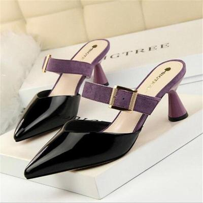 Women's Sandals Belt Buckle Slipper Women High Heels Leather Shallow Shoes Sexy
