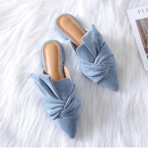 Chic Sexy Pointed Toe Ladies Mules Summer Women Slippers Flock Bow-knot Low Heel Ladies Office Shoes