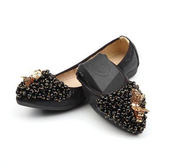 Woman Sequined Flat Shoes Elegant Rhinestone Fashion Foldable Flats
