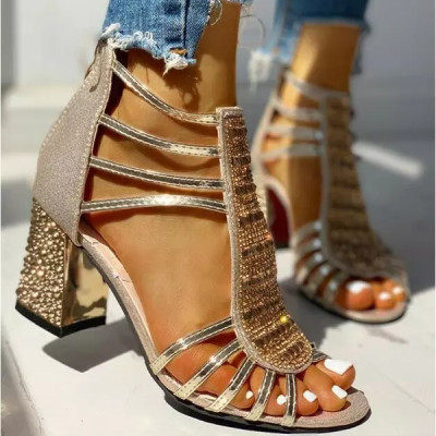 New Woman Sandals Shoes Sandalias 2020 Summer Style Wedges Pumps High Heels Slip on Bling Fashion